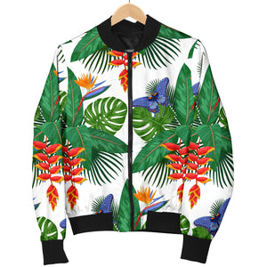 Heliconia Butterfly Leaves Pattern Women Bomber Jacket