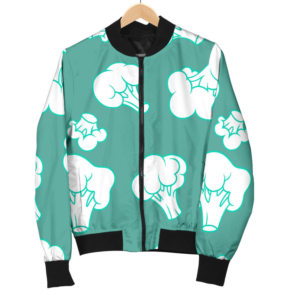 Broccoli Pattern Green background Men Bomber Jacket