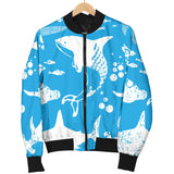 Shark Pattern Blue Theme Men Bomber Jacket