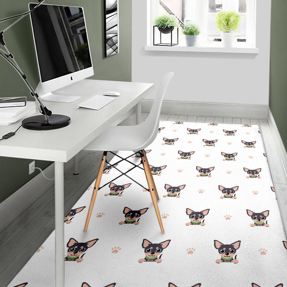 Cute Chihuahua Paw Pattern Area Rug