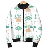 Bonsai Fan Pattern Women Bomber Jacket
