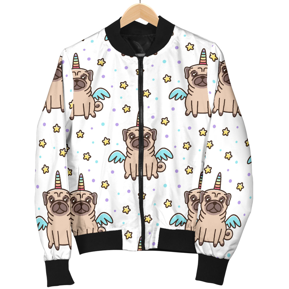 Unicorn Pug Pattern Men Bomber Jacket