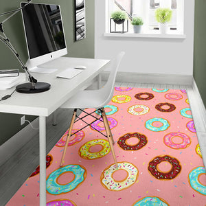 Donut Pattern Pink Background Area Rug