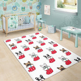 French Bulldog in Sock Pattern Area Rug