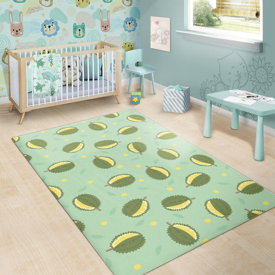 Durian Pattern Green Background Area Rug