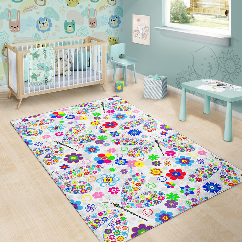 Dragonfly Color Flower Pattern Area Rug