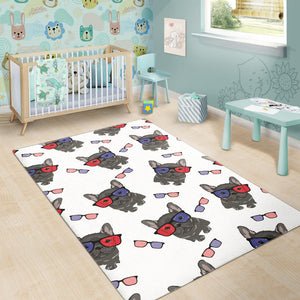 French Bulldog Sunglass Pattern Area Rug