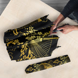 Gold Fan Flower Japanese Pattern Umbrella