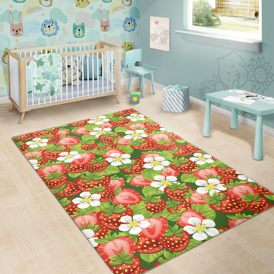 Strawberry Leaves Flower Pattern Area Rug