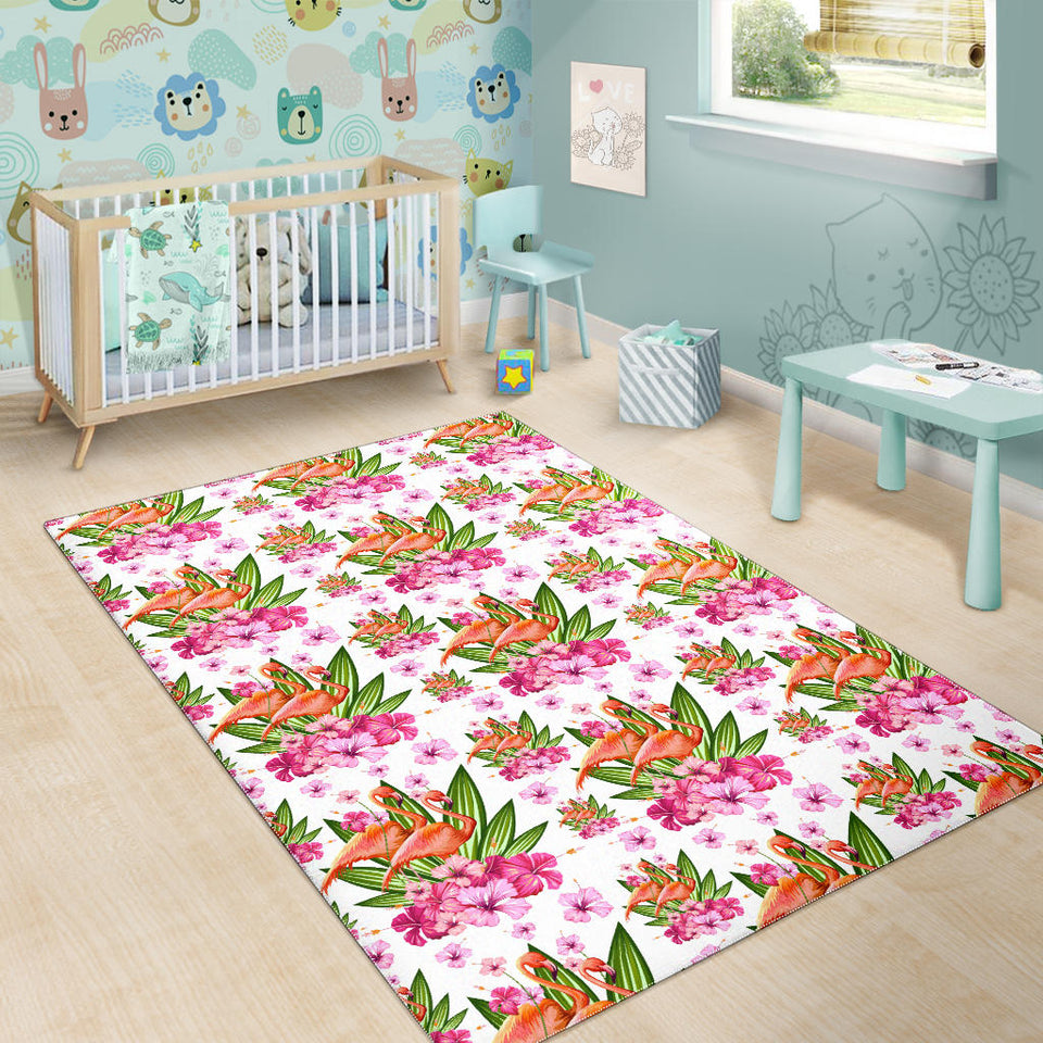 Flamingo Pink Hibiscus Pattern Area Rug