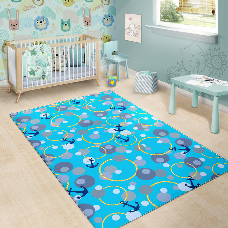 Anchor Circle Rope Pattern Area Rug