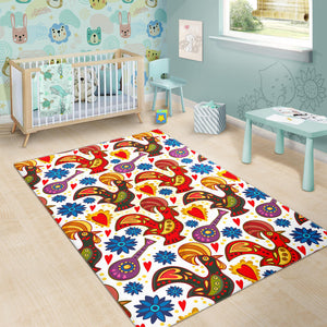Colorful Rooster Chicken Guitar Pattern Area Rug