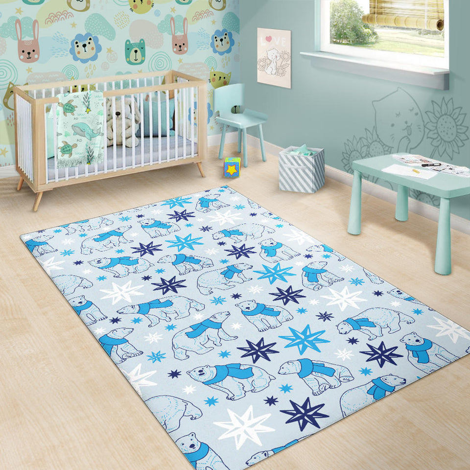 Polar Bear Pattern Blue Background Area Rug
