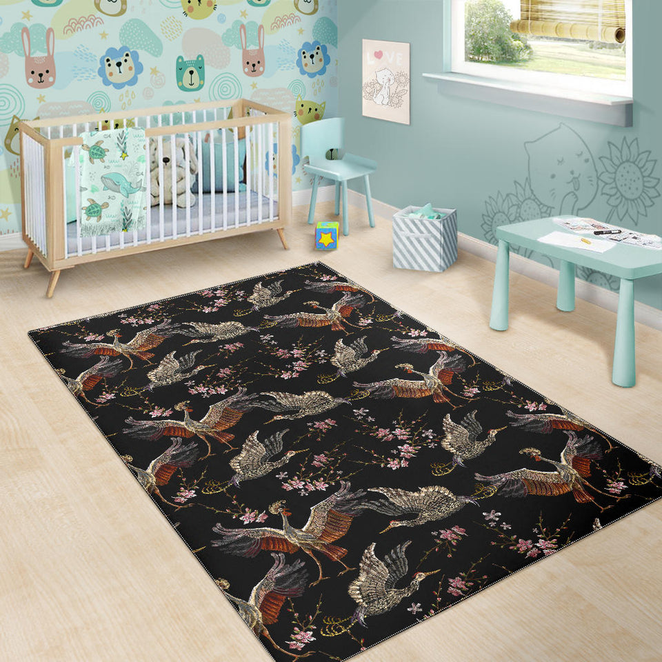 Japanese Crane Pattern Background Area Rug