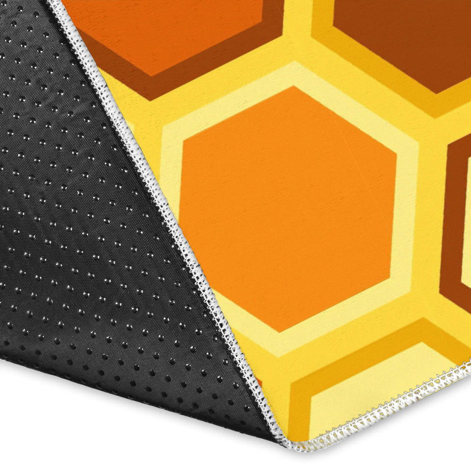 Bee and Honeycomb Pattern Area Rug
