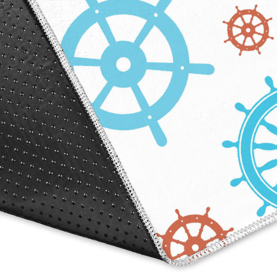 Nautical Steering Wheel Rudder Pattern Background Area Rug