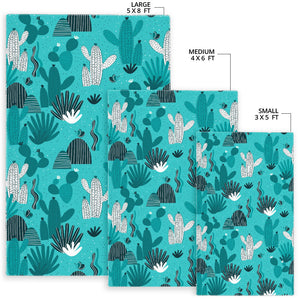 Green Cactus Pattern Area Rug
