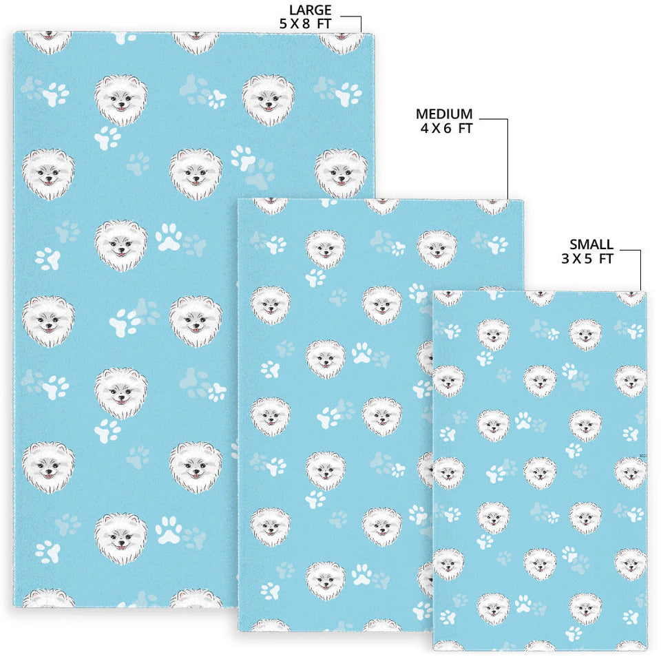 Pomeranian Pattern Blue Background Area Rug