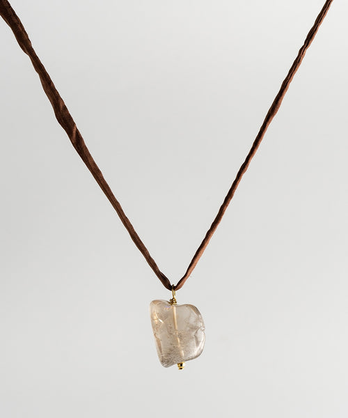 Agusan Crystal Rock Stone Necklace - Brown Silk Cord