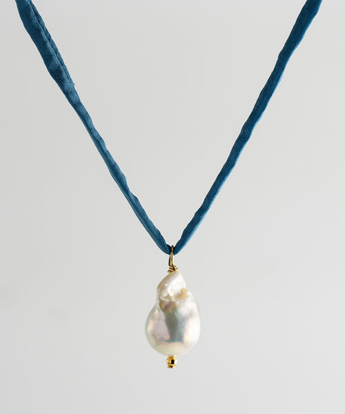 Surigao Pearl Necklace - Blue Silk Cord