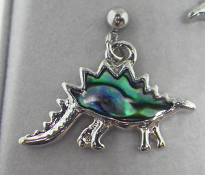 Stegosaurus Earrings Inlaid with Abalone