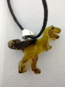 Amber Carved Tyrannosaurus Rex Necklace, 25 Million Years Old