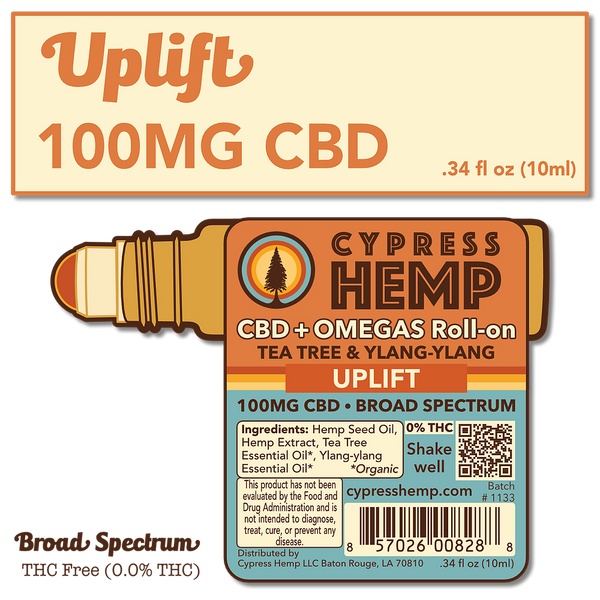 100mg CBD Roll-on | UPLIFT | Tea Tree & Ylang-Ylang