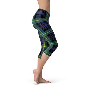 Womens Green and Blue Tartan Capri Leggings
