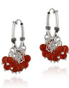 Sterling Silver Beaded Chandelier Carnelian Earrings