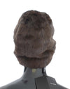 Brown Weasel Fur Womens Cashmere Hat Beanie