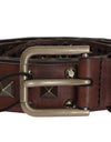 Brown Leather Gold Buckle Studded Belt
