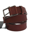 Brown Leather Logo Silver Buckle Belt