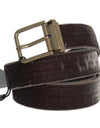 Brown Viscose Leather Gold Buckle Belt