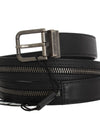 Black Leather Zipper Embellishment Belt