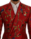 Red Bird Print Silk Slim Fit Blazer Jacket