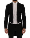 Black Wool Silk Blazer Tailcoat