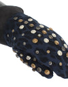 Gray Wool Shearling Studded Blue Leopard Gloves