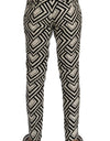 White Black Striped Linen Casual Pants