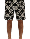 Black White Pattern Linen Shorts