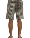 White Black Striped Hemp Casual Shorts