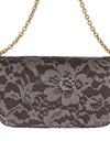 DOLCE & GABBANA Gray Floral Lace Crystal Clutch Bag