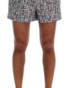 Beige Blue Print Beachwear Shorts