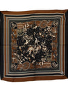 Black Brown Silk Sicilian Print Scarf