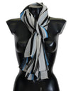 Blue White Striped Silk Scarf