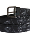 Black Cayman Linen Leather Belt