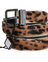 Brown Leopard Goat Hair Cayman Leather Belt