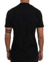 Black Cotton V-neck T-Shirt