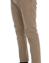 Beige Cotton Stretch Slim Fit Chinos