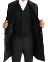 Black Wool Silk Torero Long 3 Piece Suit