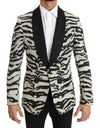 Black White Zebra Silk Blazer